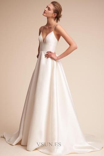 Vestido de novia Falta Escote de Tirantes Espaguetis Corte-A Sin mangas - Página 1