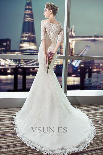 Vestido de novia Capa de encaje Cordón Abalorio Escote con Hombros caídos - Página 2