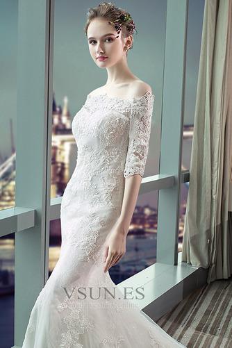 Vestido de novia Capa de encaje Cordón Abalorio Escote con Hombros caídos - Página 5