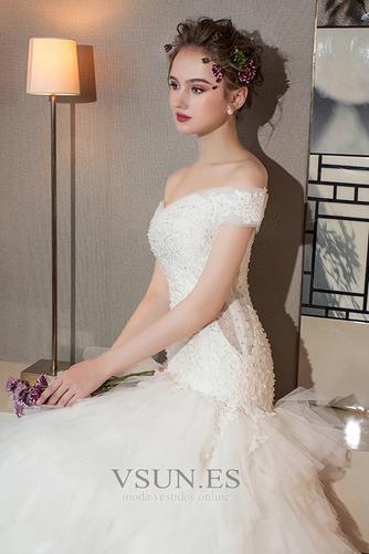 Vestido de novia Cola Real Falta Natural Cordón Camiseta Corte-A - Página 5