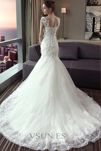 Vestido de novia Escote en V Sala Manga corta largo Cordón Encaje - Página 3