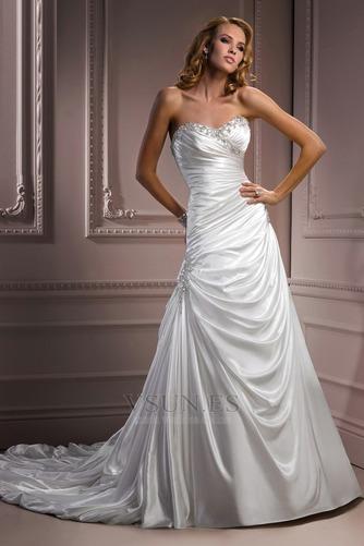 Vestido de novia Sin tirantes Natural Invierno Corte-A Pera Sala - Página 1