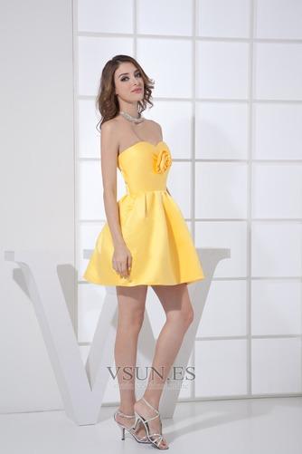 Vestido de dama de honor Corto Natural Falta Corte-A Satén Flores - Página 3