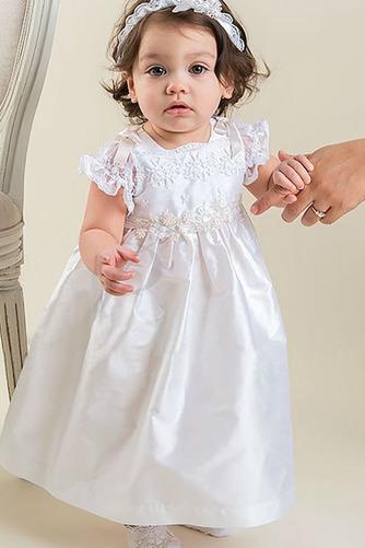 Vestido de Bautizo Corte princesa Alto cubierto Joya Hasta el Tobillo - Página 1