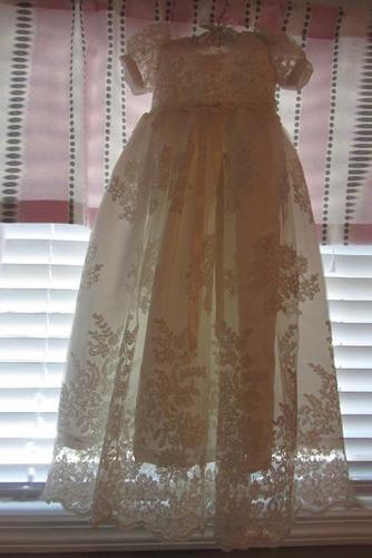 Vestido de Bautizo Flores largo Imperio Cintura Falta Encaje Formal - Página 3