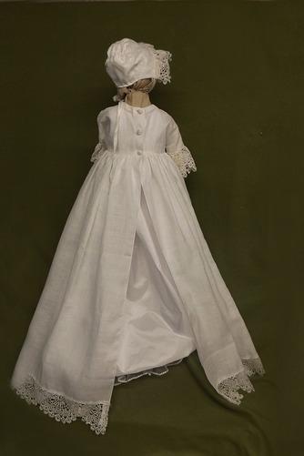 Vestido de Bautizo Encaje Botón Corte princesa largo Imperio Cintura Tallas pequeñas - Página 2