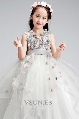 Vestido niña ceremonia Hasta el Tobillo Otoño Apliques tul Rosetón Acentuado - Página 5