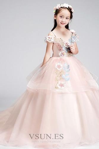 Vestido niña ceremonia Formal Corte-A Verano Natural Sin mangas Apliques - Página 1