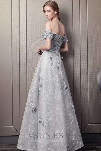 Vestido de noche Escote con Hombros caídos Natural Encaje Elegante Hasta el Tobillo - Página 2