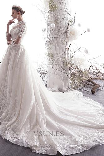 Vestido de novia primavera Escote con cuello Alto Capa de encaje Mangas Illusion - Página 6