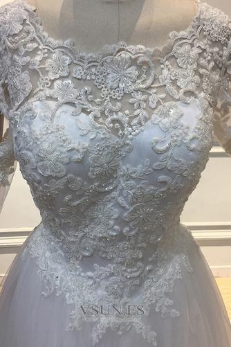 Vestido de novia Capa de encaje Sala Cremallera tul Mangas Illusion - Página 5