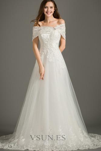 Vestido de novia Encaje Elegante Corte-A Pera Cola Corte Cremallera - Página 1