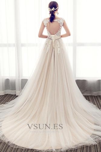 Vestido de novia Elegante Cola Barriba Verano Escote en V Capa de encaje - Página 2