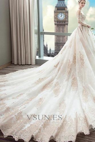 Vestido de novia Abalorio Tallas pequeñas Natural Escote con Hombros caídos - Página 5