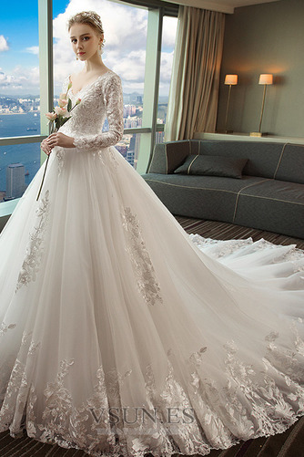 Vestido de novia Capa de encaje Baja escote en V Apliques Formal Corte-A - Página 3