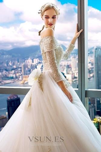 Vestido de novia Manga larga Cordón primavera largo Natural Corte-A - Página 4