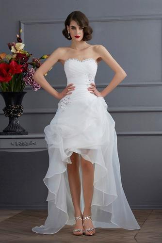 Vestido de novia Sin mangas Dobladillos Cintura Baja Escote Corazón - Página 2