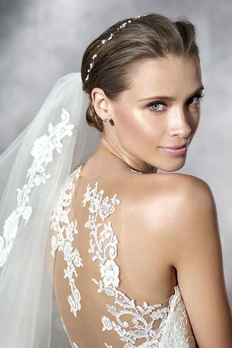Vestido de novia Pura espalda Cola Capilla Apliques Sala Natural Corte-A - Página 3