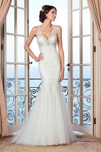 Vestido de novia Encaje Alto cubierto largo Escote en V Sala Natural - Página 1