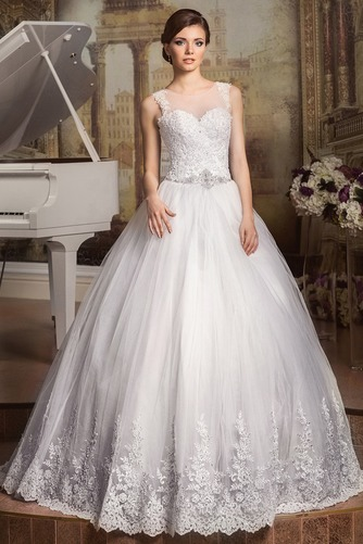 Vestido de novia Cordón Apliques Joya largo tul Natural - Página 1