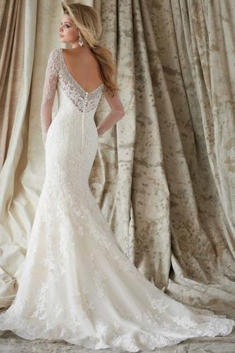 Vestido de novia largo Mangas Illusion Natural Cristal Encaje Espalda medio descubierto - Página 2