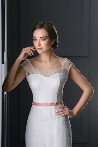 Vestido de novia Barco Fajas Natural Cordón Sin mangas Cola Barriba - Página 3