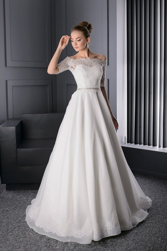 Vestido de novia Escote con Hombros caídos Manga corta Otoño Corte-A - Página 1