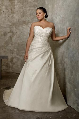 Vestido de novia Apliques Sin mangas Cola Capilla Escote Corazón Satén - Página 1