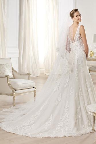 Vestido de novia tul Corte-A Escote en V Espalda medio descubierto largo - Página 2