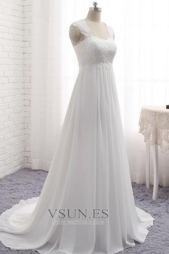 Vestido de novia Encaje Escote Cuadrado Gasa Sin mangas Imperio Natural - Página 2