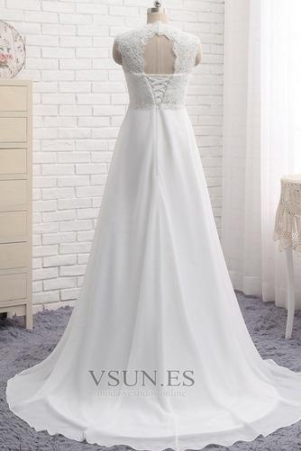 Vestido de novia Encaje Escote Cuadrado Gasa Sin mangas Imperio Natural - Página 3