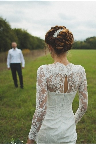 Vestido de novia Escote con cuello Alto Apertura Frontal Verano Manga larga - Página 7