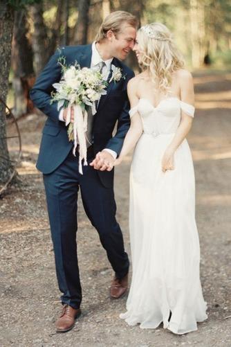 Vestido de novia Espalda Descubierta Playa Escote con Hombros caídos - Página 2