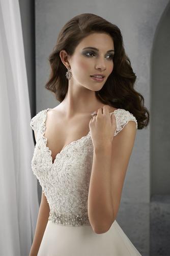 Vestido de novia Espalda medio descubierto Cinturón de cuentas Escote en V - Página 3