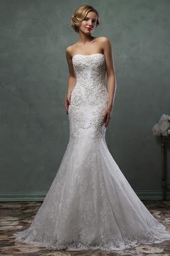 Vestido de novia Corte Sirena Natural Barco Apliques Otoño Alto cubierto - Página 3