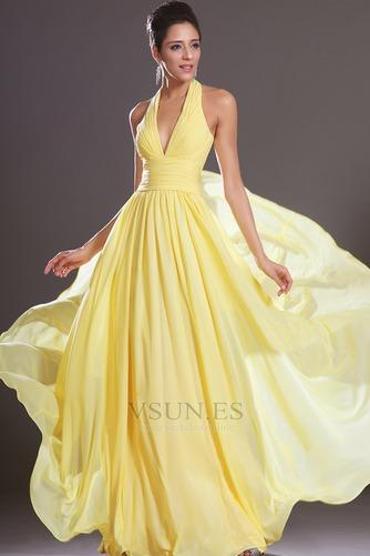 Vestido de noche primavera Espalda medio descubierto sexy Amarillo claro - Página 3