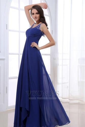 Vestido de noche azul real descubierto Plisado fantasía Escote en V - Página 3