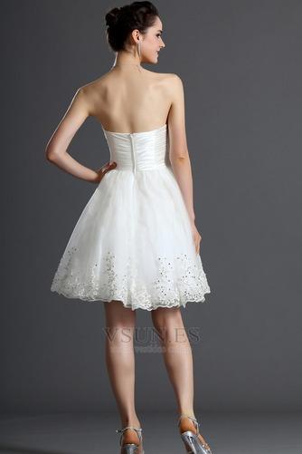 Vestido de novia Verano Sin mangas Natural Delgado Capa de tul Blusa plisada - Página 8