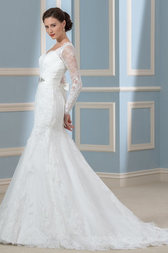 Vestido de novia Corte Recto Otoño Elegante Cordón Queen Anne Volantes Adorno - Página 2