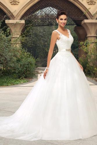 Vestido de novia largo Triángulo Invertido Sala Cinturón de cuentas - Página 2