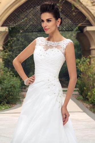 Vestido de novia largo Barco Elegante Blusa plisada Espalda Descubierta - Página 4