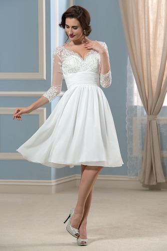 Vestido de novia Hasta la Rodilla Elegante Otoño Apliques Cremallera - Página 1