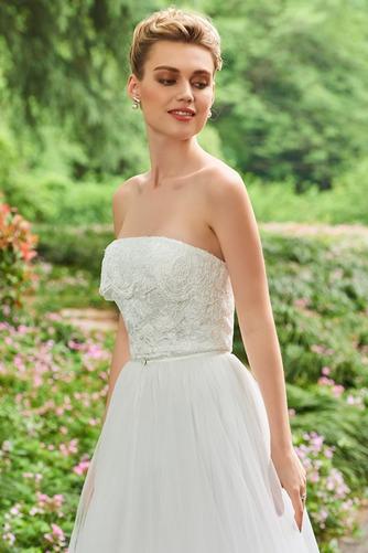 Vestido de novia Triángulo Invertido Otoño Sin tirantes Corte-A tul - Página 4
