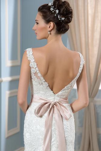 Vestido de novia Corte Recto Satén Arco Acentuado Cristal Espalda Descubierta - Página 5