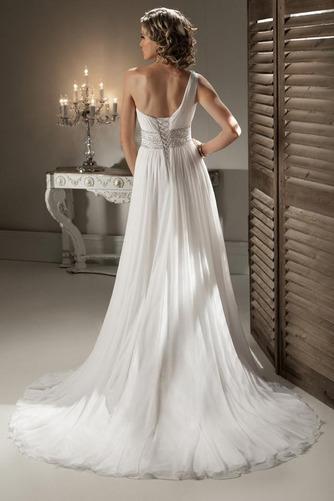 Vestido de novia Cinturón de cuentas Corte-A Gasa Natural Un sólo hombro - Página 2