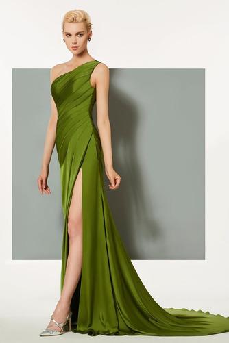 Vestido de noche Satén Elástico Espalda medio descubierto Blusa plisada - Página 2