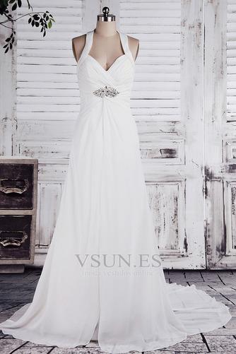Vestido de novia Imperio Sin mangas Otoño Tallas pequeñas Cola Corte - Página 1
