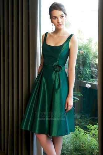 Vestido de dama de honor Corte-A Espalda medio descubierto Verano Rosetón Acentuado - Página 1