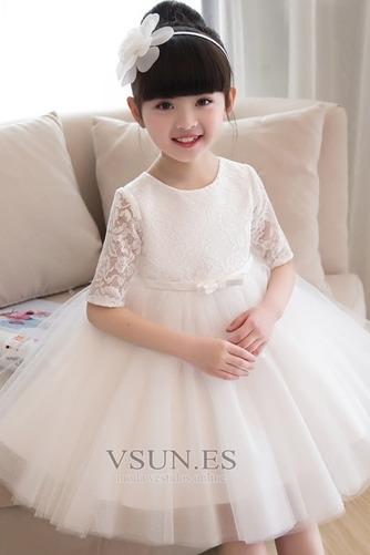 Vestido niña ceremonia Natural Apliques Falta Corte-A Satén La mitad de manga - Página 4