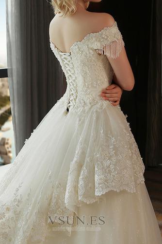 Vestido de novia Satén Escote con Hombros caídos Sala primavera Manga corta - Página 5